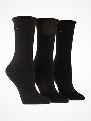 Calvin Klein 3-pack Emma Roll Top Crew Socks Black