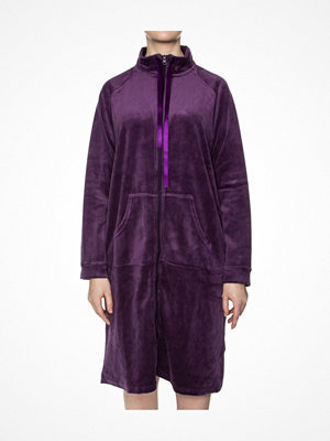 Morgonrockar - Damella Velour Zip Robe Deep purple