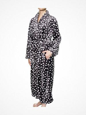 Damella Fleece Robe Print Grey