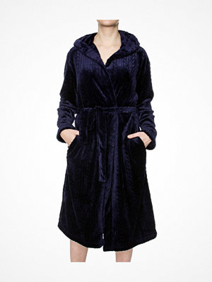 Morgonrockar - Damella Fleece Cable Hooded Robe Navy-2