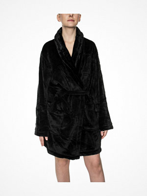 Morgonrockar - DKNY Signature Robe LS Folded Black