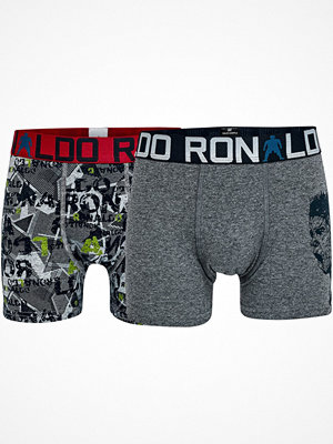 CR7 Cristiano Ronaldo 2-pack Boys Line Trunks Grey/Red