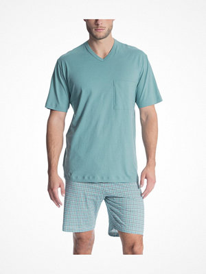 Pyjamas & myskläder - Calida Relax Imprint 1 Short Pyjama Bluegreen