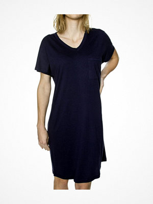 Damella Cotton-Modal Plain Nightdress Navy-2