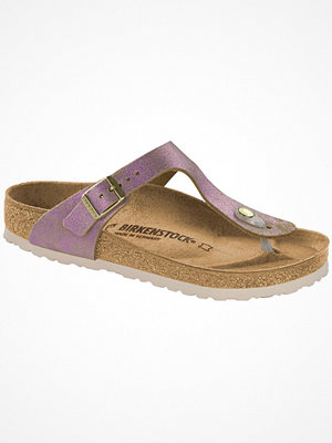 Tofflor - Birkenstock Gizeh Leather Washed Metallic Pink