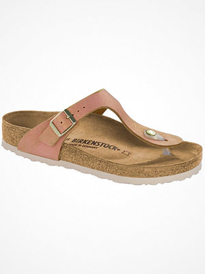 Tofflor - Birkenstock Gizeh Leather Washed Metallic Lightpink