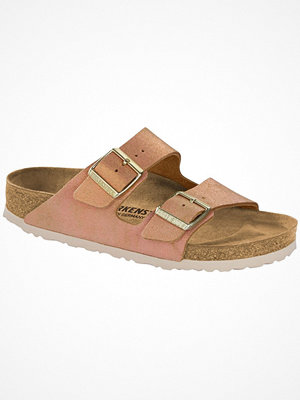 Tofflor - Birkenstock Arizona Leather Washed Metallic Lightpink
