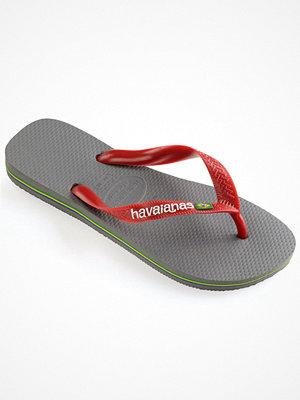 Tofflor - Havaianas Brasil Logo Grey/Red