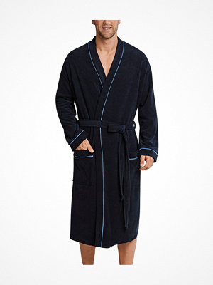 Morgonrockar - Schiesser Roger Moore Terry Cloth Bathrobe Navy-2