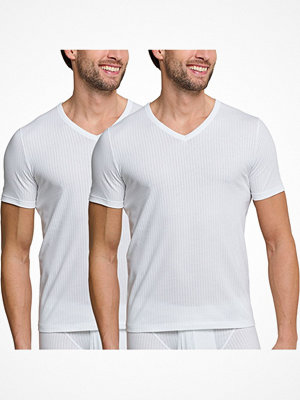 Schiesser 2-pack Authentic Short Sleeved Shirts V-neck White