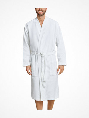 Morgonrockar - Schiesser Essentials Waffle and Terry Bathrobe White