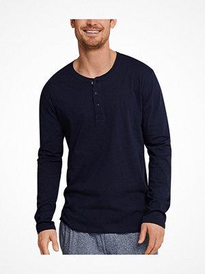 Schiesser Mix and Relax Long Sleeve Shirt Button Darkblue