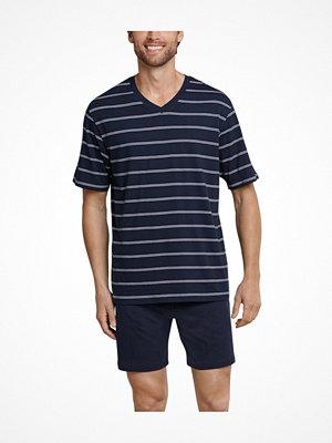Schiesser Day and Night Short Stripe Pyjama Darkblue