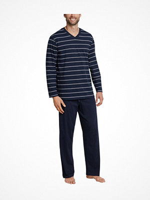 Schiesser Day and Night Long Stripe Pyjama Darkblue