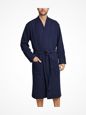 Schiesser Essentials Waffle and Terry Bathrobe Darkblue