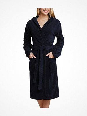 Morgonrockar - Schiesser Essentials Bathrobe With Hood Navy-2