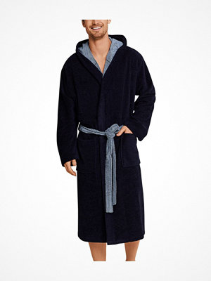 Morgonrockar - Schiesser Essentials Velvet and Terry Bathrobe Darkblue