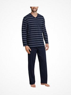 Schiesser Day and Night Long Stripe Pyjama 3XL-5XL Darkblue