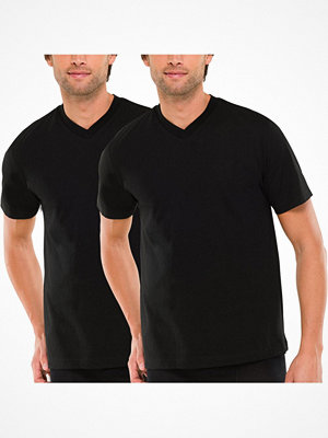 Schiesser 2-pack Essentials American T-shirts V-neck Black