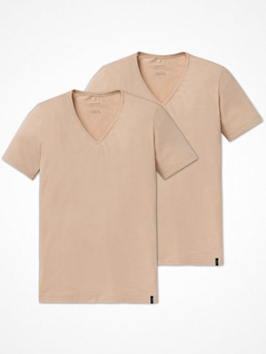 Schiesser 2-pack 95-5 Shirt Short Sleeve Lower V-neck Beige