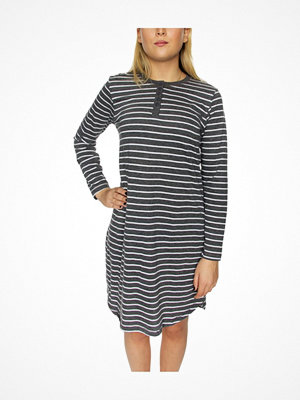 Nattlinnen - Damella Cotton Stripe Nightdress LS Greystriped