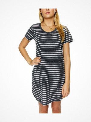 Nattlinnen - Damella Cotton Stripe Nightdress SS Greystriped
