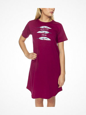 Nattlinnen - Damella Feathers Nightdress SS Wine red