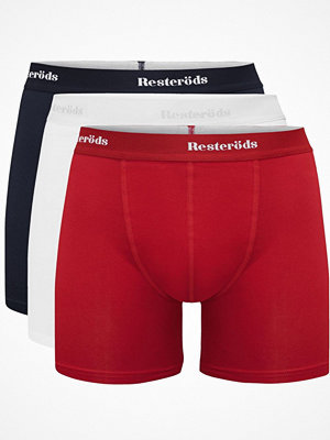 Resteröds 3-pack Organic Cotton Boxer Long Leg Navy/Red