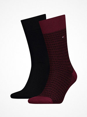 Strumpor - Tommy Hilfiger 2-pack Men Structure Knit Socks Red