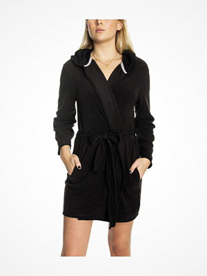 DKNY Cozy Up Hooded Robe Black