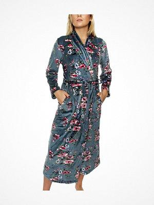 Morgonrockar - Trofé Trofe Velvet Fleece Robe Blue w Flower