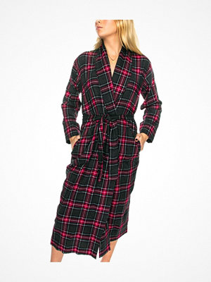Damella Flannel Check Robe Grey/Red