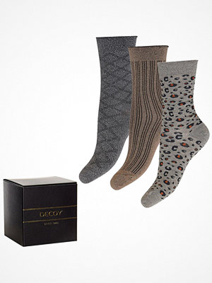 Strumpor - Decoy 3-pack Glitter Socks Grey/Gold
