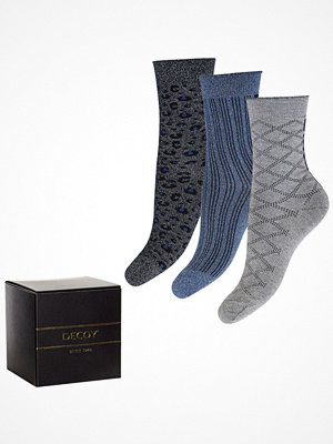 Strumpor - Decoy 3-pack Glitter Socks Blue/Grey