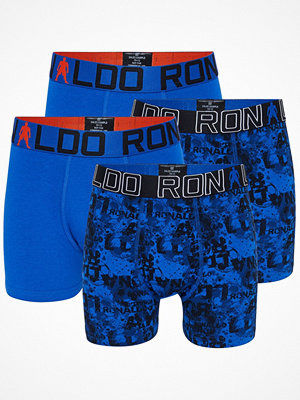 CR7 Cristiano Ronaldo 4-pack Boys Line Cotton Trunk Blue Pattern