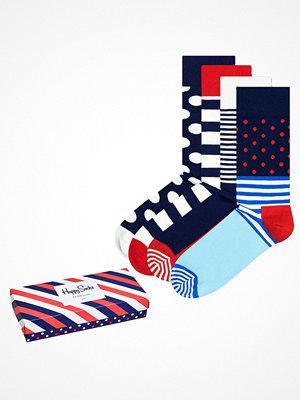 Strumpor - Happy Socks 4-pack Happy Socks Stripe Socks Gift Box Red/Blue