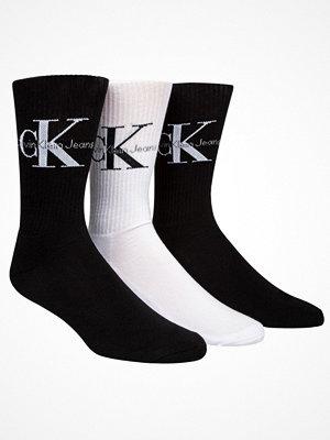 Strumpor - Calvin Klein 3-pack Domini Retro Logo Socks Gift Box Black/White