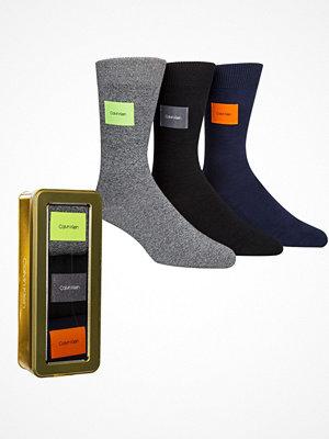 Strumpor - Calvin Klein 3-pack Forbes Logo Patch Socks Gift Box Grey/Blue