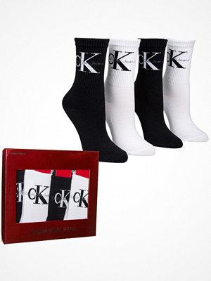 Strumpor - Calvin Klein 4-pack Hudson Jeans Logo Short Crew Gift Box Black/White