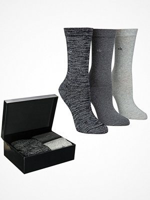 Strumpor - Calvin Klein 3-pack Isla Holiday Sparkle Socks Gift Box Grey