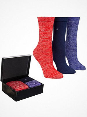 Strumpor - Calvin Klein 3-pack Isla Holiday Sparkle Socks Gift Box Blue/Red
