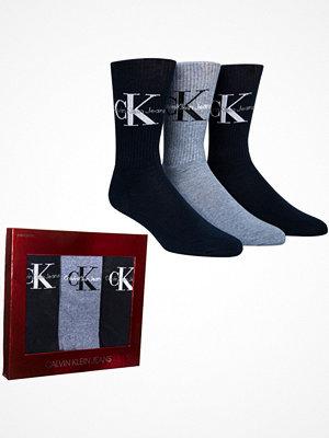 Strumpor - Calvin Klein 3-pack Domini Retro Logo Socks Gift Box Black/Grey