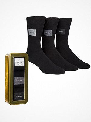 Strumpor - Calvin Klein 3-pack Forbes Logo Patch Socks Gift Box Black