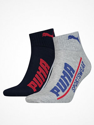 Strumpor - Puma 2-pack Quarter Logo Socks Navy/Grey