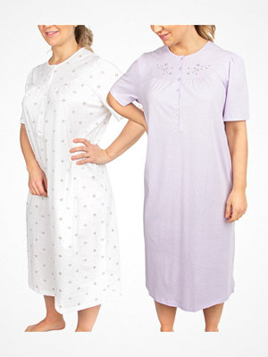 Nattlinnen - Triumph 2-pack Timeless Cotton Nightdress NDK SSL White/Lilac