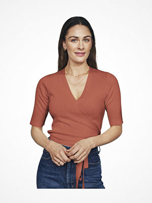 Pyjamas & myskläder - Pierre Robert X Jenny Skavlan Cotton Wrap Top Burnt orange