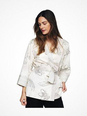Pierre Robert X Jenny Skavlan Cotton Lounge Kimono White Pattern-2