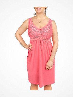 Nattlinnen - Trofé Trofe Modal Lace Nightdress Pink