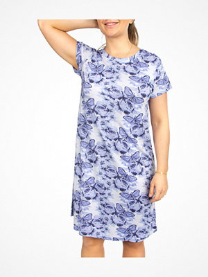 Nattlinnen - Trofé Trofe Bamboo Nightdress  Blue w Flower