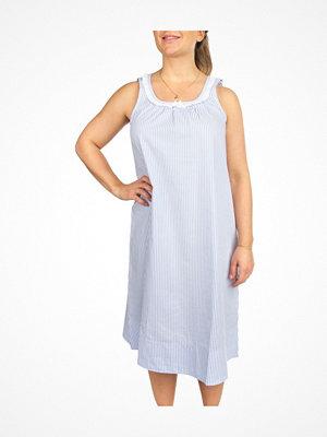 Nattlinnen - Trofé Trofe Cotton SL Long Nightdress Lt blue Stripe